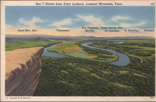 1957 post card: See 7 states, Rock City