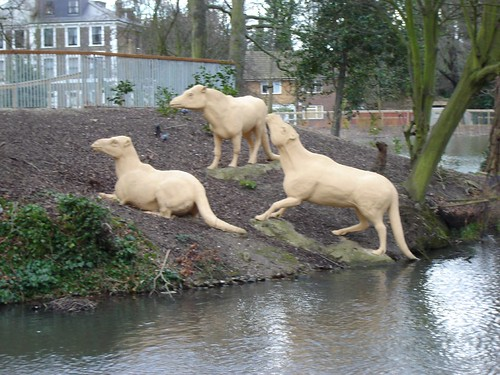 Some of the newly installed and unpainted wildlife in Crystal Palace Park, this picture found in 'Big Marvin's Flickr'