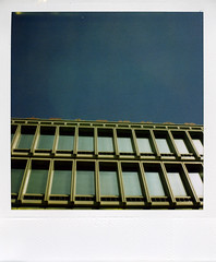 blue and blue (gochie*) Tags: blue reflection film japan sx70 600  osaka honmachi polarid kasenkaikan