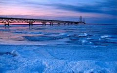 Mackinac Bridge (jensenl) Tags: bridge winter sunset lake ice mackinac