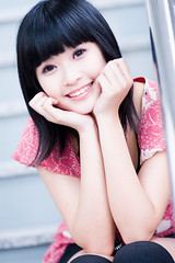 Akina (swanky) Tags: portrait people woman cute girl beautiful beauty smile face canon asian eos md model women asia pretty sweet femme taiwan 85mm babe belle taipei   taiwanese 2007   30d   dcview  akina      canonef85mmf18usm       emiruemirue mtv mtv ak