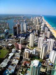 Surfers Paradise (Erik K Veland) Tags: ocean beach architecture skyscraper rooftops perspective australia canals pacificocean pools highrise development surfersparadise waterways goldcoast q1 birdeye
