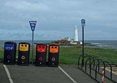Recycling Point (RoystonVasey) Tags: park uk sea england lighthouse bike st newcastle point island fuji britain united mary great kingdom cycle finepix marys gb recycling greyday slope whitley s6500fd s6000fd windyagain