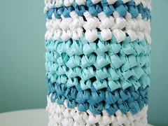 crochet bottle cover - detail (rugrug) Tags: bottle handmade crochet craft plastic cover plasticbag vase recycle winebottle upcycle