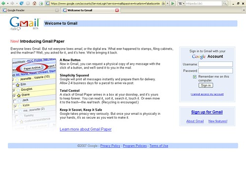 Google Mail Paper LogIn