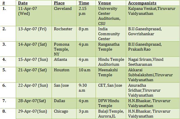 US Schedule 2007