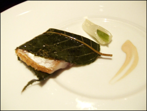 Manresa (Los Gatos) - Horse Mackeral grilled in Cherry Blossom leaves