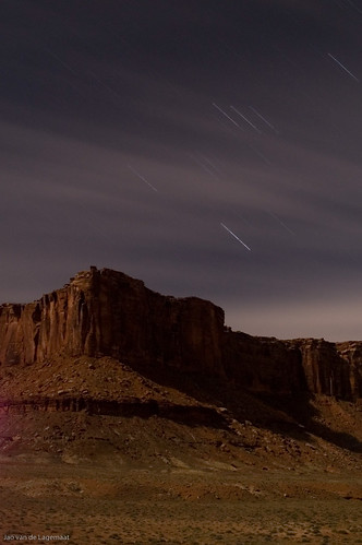 Star trails over moonlit Taylor Canyon