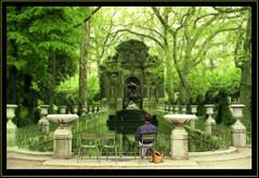 Viewing into an Enchanted, Green World (Chris_ti_ane) Tags: sculpture plants paris france reflection green water statue frankreich wasser vert parc spiegelung baum christiane minoltaxd5