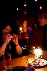 How a Photographer Celebrates her Birthy Day (Airchinapilot) Tags: canada cake vancouver sparkler eatery vandigicam seawallrunner blacksiren jensbirthdaybash