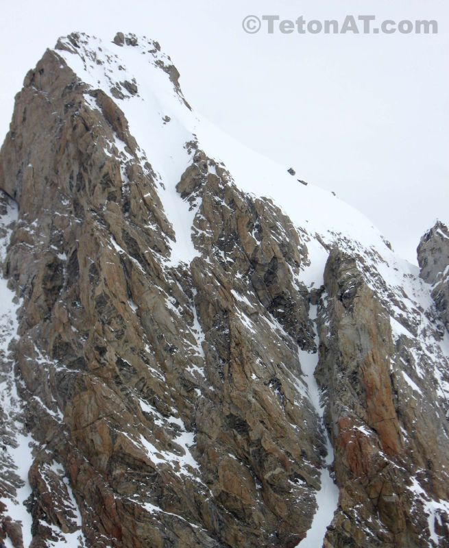 Skier climbers ascend the Grand Teton