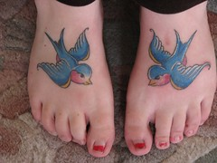 Swallow Foot Tattoos