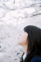 sakura iro (_mayxxx_) Tags: pink people film girl canon cherry 50mm blossom highschool sakura f18 2007 ftb