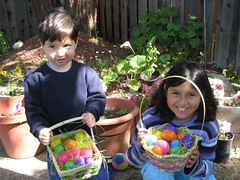 John Paul and Anna show off the Easter eggs they found. (04/08/07)