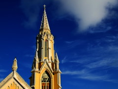 The church and the sky (*atrium09) Tags: travel blue sky clouds basilica venezuela iglesia valle olympus 500v50f cielo nubes margarita virgen e330 atrium09 mywinners abigfave shieldofexcellence colorphotoaward superaplus aplusphoto ltytr1 200750plusfaves 50faves50comments500views brpblue 200750plusfavesjanuarycontest 200750plusfavesvotingopen rubenseabra