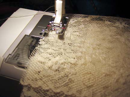 Sewing the lace