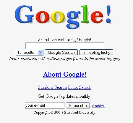 Captura de pantalla de una de las primeras páginas de inicio de Googel