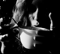Sarah drinking a Coffee (FrankfurterZeit) Tags: bw coffee sarah germany nrw bielefeld bernstein