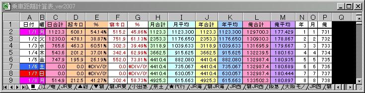 乗車距離計算表2007