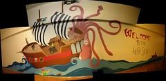East Quad Mural (I'm A Raindog, Too) Tags: boat mural ship annarbor uofm pirate seamonster rc eastquad giantsquid kraken