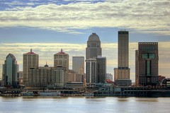 Louisville Waterfront (Daniel Light) Tags: oneaday skyline waterfront photoaday louisville hdr michaelgraves pictureaday belleoflouisville project365 morethanderby galthouse nationalcitytower humanabuilding project365020907 aegontower jeffersonclub