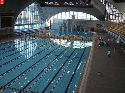東京辰巳国際水泳場プールを望む