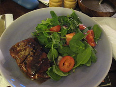 pork tenderloin w/ plum sauce and salad w/ a dijon-shallot vin.