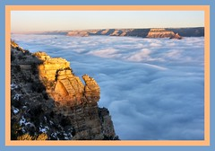 Her Majesty Modestly Covers Herself (Pictoscribe) Tags: arizona fog river colorado south grand canyon rim abigfave