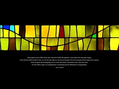 stained glass with Psalm 100 (Brian A Petersen) Tags: beach church glass mac worship long screensaver background brian chapel bethany line stained longbeach bible 17 straight bp curve verse psalm petersen macbook bpbp brianpetersen brianapetersen