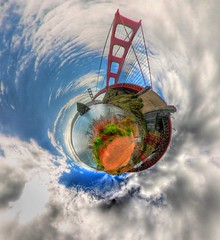 Golden Gate Planet Marin Side (Josh Sommers) Tags: sanfrancisco california panorama projection goldengatebridge hdr highdynamicrange allrightsreserved stereographic hugin photmatix littleplanet nodalninja weekendamerica copyrightjoshsommers2007