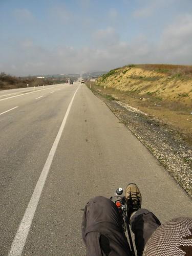 Endless straight road to Greece (near Malkara, Turkey)