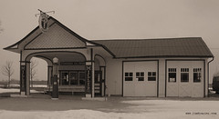 Standard Oil Gasoline Station (Jim Frazier (sick - not around much)) Tags: road trip blackandwhite bw white black building history monochrome shop retail museum sepia architecture rural america buildings shopping store illinois route66 commerce structures roadtrip monotone structure 66 historic gasstation business storefront shops historical americana desaturated storefronts february stores merchant smalltown odell q3 2007 rt66 monochome us66 oldified bwset standardoil highway66 nationalregisterofhistoricplaces v500 gasolinestation nrhp merchantile nhrp feb2007peoria 2008calpot fastpictures