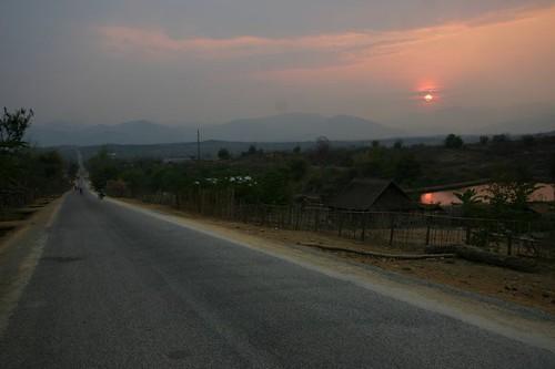 Near Muang Kham. Setting sun...