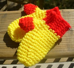 red and yellow mittens