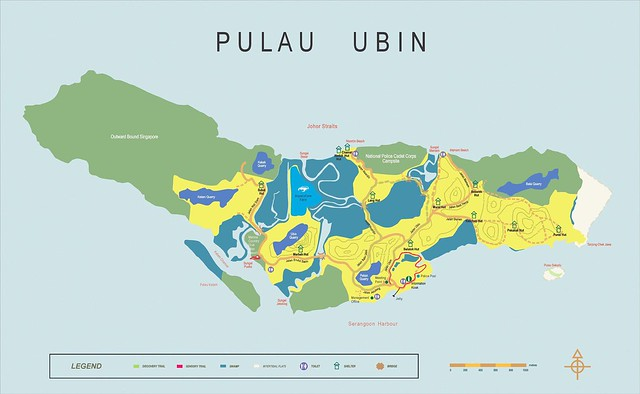 New version of NPARKS map of Pulau Ubin, verdict: I prefer the old map ...