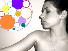 Self Portrait ({bright fizz}) Tags: portrait bw woman girl female self circle skinny nose necklace colorful long arm skin circles bare profile browneyed my