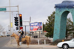 Albuquerque Rider (benrobertsabq) Tags: street horse newmexico cars hat cowboy afternoon traffic boots cloudy pavement gray saturday albuquerque overcast riding stoplight nm rider horseback bridle horseman nuevomexico shotwhiledriving landofenchantment chevyonastick