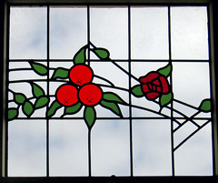 Art Deco Window (f0rbe5) Tags: blue red newzealand orange white black building green window glass 350d design decoration stainedglass 2006 stained company northisland artdeco deco napier aotearoa rothmans nationaltobaccocompany ahuriri nationaltobaccocompanybuilding rothmansbuilding