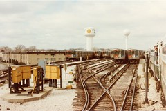 The CTA rapid transit yard in suburban Forest Park Illinois. March 17th 1985.