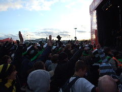 Irish fans at the stage (and one Wasp)