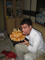 Bret enjoys his surprise cake (locket479) Tags: birthday cake 22 funny bret burger frenchfries delicious cheeseburger birthdaycake fries unhealthy