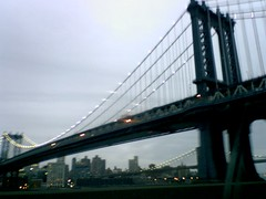 Brooklyn Bridge in New York City at dusk