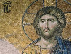 Byzantine mosaic in the Hagia Sophia (birdfarm) Tags: art church face religious gold christ mosaic jesus icon badge hagiasophia byzantine iconography