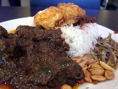 Nasi Lemak with Rendang Beef - Jom Makan