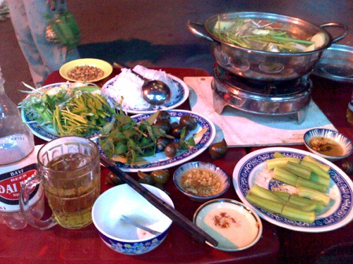 Clockwise from upper right: Dieu Hong Lau, Okra, Dai Nam Bia, and Oc Buu