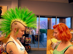 The Great Hair Stare Down (Tojosan) Tags: ladies cute lady mall wednesday hair fun nikon bright pair bookstore coolpix stare borders cwdgs cwd111 encouragedbynannaj canifavemyownshot thanksforallthecommentsfavesandvisits cwdgs11