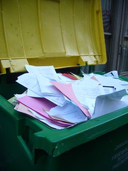recycling (nedbaker) Tags: pink white green yellow paper bin rubbish waste documents