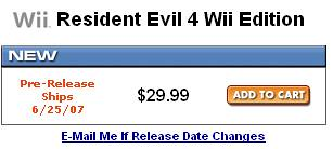 Resident Evil 4 – Coming to the Wii for 30$