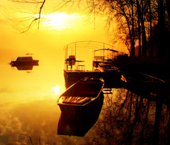 Sunrise, Sunrise, looks like morning in your eyes, but the clock's held 9:15 for hours (aremac) Tags: morning water sunrise river bravo serbia sava obrenovac norahjonesthanksforthetitle
