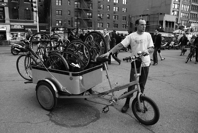 Christopher John and his Cargo bike ... full of bikes